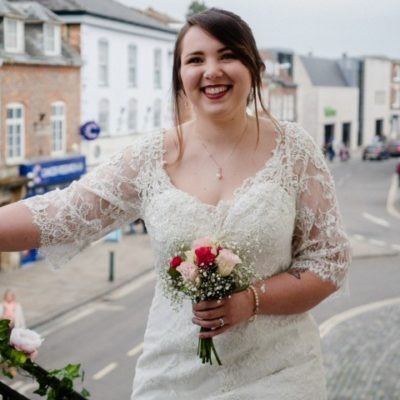 Wedding Bride Arriving Outside Stairs